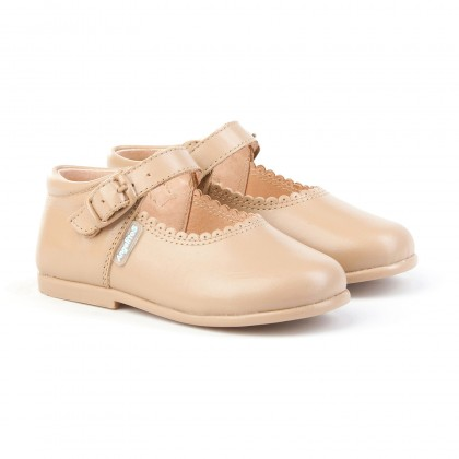 Childrens Girl Leather School Mary Jane Shoes Buckle 500 Camel, by AngelitoS