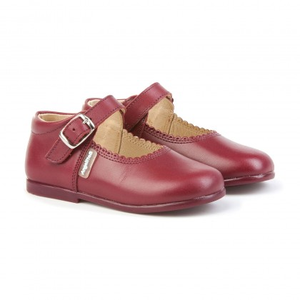 Childrens Girl Leather School Mary Jane Shoes Buckle 500 Burgundy, by AngelitoS