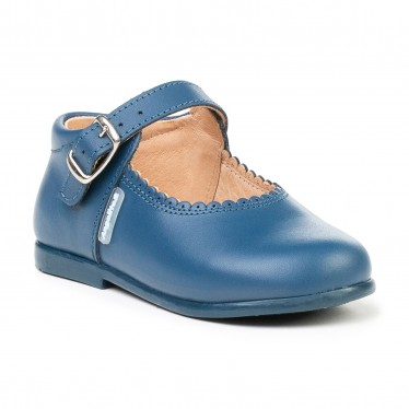 Childrens Girl Leather School Mary Jane Shoes Buckle 500 Blue, by AngelitoS
