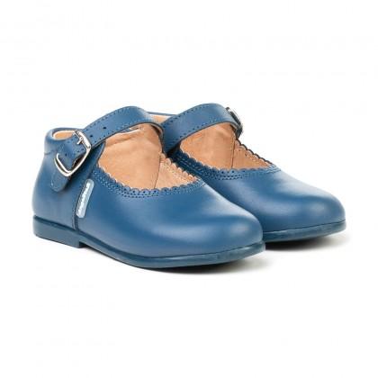 Merceditas Colegiales Infantil Niña Piel Hebilla 500 Azul, de Angelitos