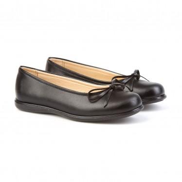 Girls Leather School Ballerinas Bow 465 Black, by AngelitoS