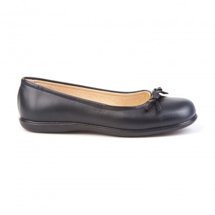 Girls Leather School Ballerinas Bow 465 Navy, by AngelitoS