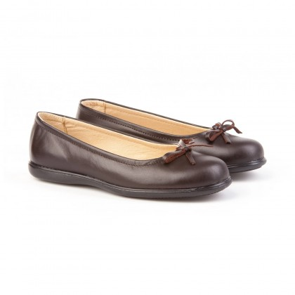 Girls Leather School Ballerinas Bow 465 Chocolate, by AngelitoS