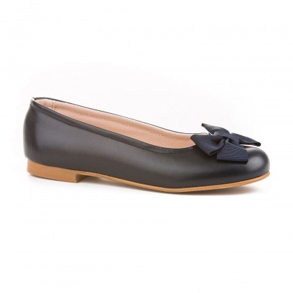 Girls Leather School Ballerinas Bow 1509 Navy, by AngelitoS