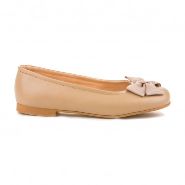 Girls Leather School Ballerinas Bow 1509 Camel, by AngelitoS