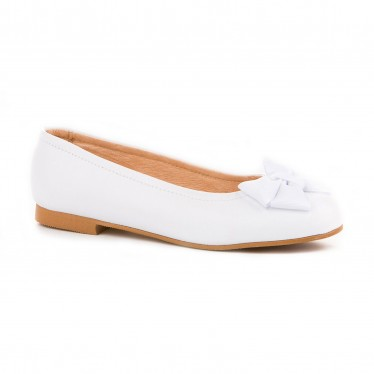 Girls Leather School Ballerinas Bow 1509 White, by AngelitoS