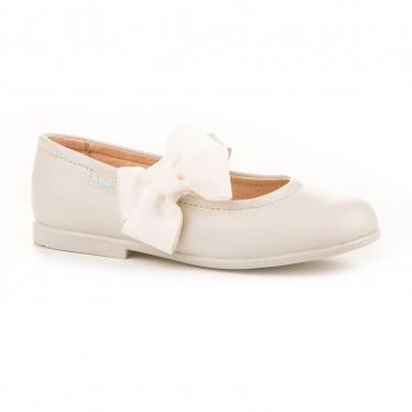 Bailarinas Colegiales Infantil Niña Piel Velcro Lacito 519 Beige, de Angelitos