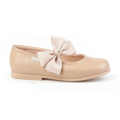 Childrens Girl Leather School Ballerinas Velcro Bow 519 Camel, by AngelitoS