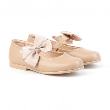 Bailarinas Colegiales Infantil Niña Piel Velcro Lacito 519 Camel, de Angelitos