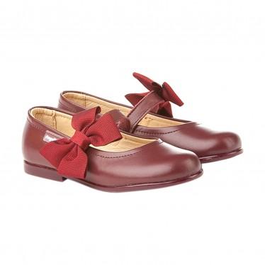Bailarinas Colegiales Infantil Niña Piel Velcro Lacito 519 Burdeos, de Angelitos