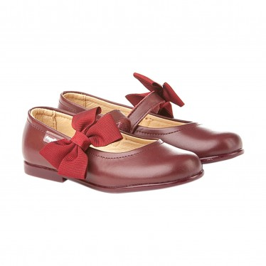 Childrens Girl Leather School Ballerinas Velcro Bow 519 Burgundy, by AngelitoS
