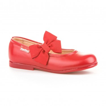 Childrens Girl Leather School Ballerinas Velcro Bow 519 Red, by AngelitoS