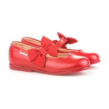 Bailarinas Colegiales Infantil Niña Piel Velcro Lacito 519 Rojo, de Angelitos