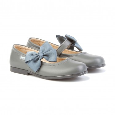 Childrens Girl Leather School Ballerinas Velcro Bow 519 Grey, by AngelitoS