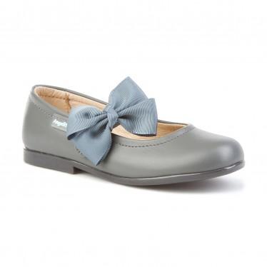 Bailarinas Colegiales Infantil Niña Piel Velcro Lacito 519 Gris, de Angelitos