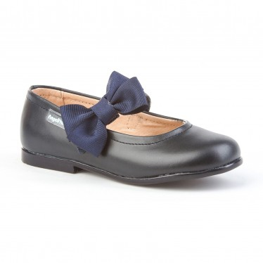 Childrens Girl Leather School Ballerinas Velcro Bow 519 Navy, by AngelitoS