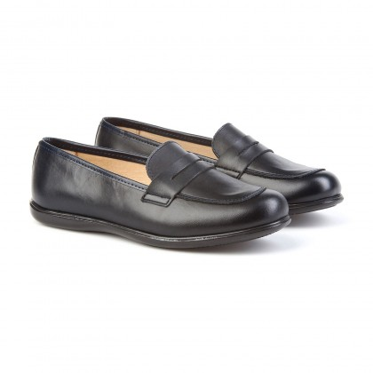 Childrens Girl Leather School Loafers Rounded Toe 466 Navy, by AngelitoS