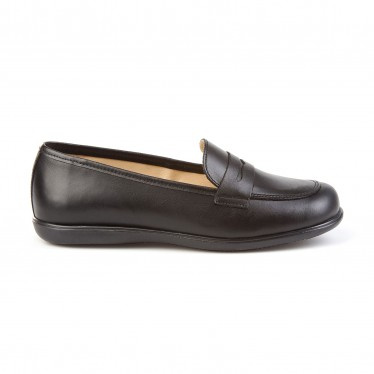 Childrens Girl Leather School Loafers Rounded Toe 466 Black, by AngelitoS