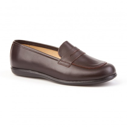 Childrens Girl Leather School Loafers Rounded Toe 466 Chocolate, by AngelitoS