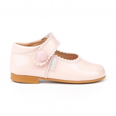 Girls Patent Leather Mary Jane Shoes Velcro 1502 Pink, by AngelitoS