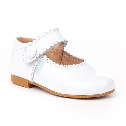Girls Patent Leather Mary Jane Shoes Velcro 1502 White, by AngelitoS