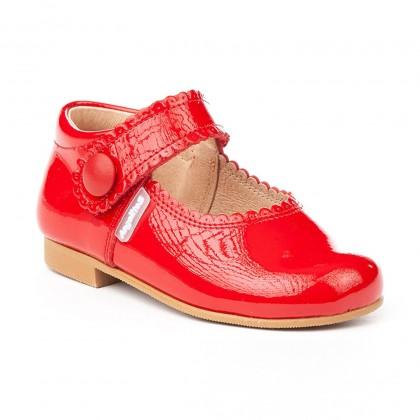 Merceditas Niña Piel Charol Velcro 1502 Rojo, de Angelitos