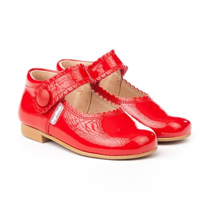 Girls Patent Leather Mary Jane Shoes Velcro 1502 Red, by AngelitoS