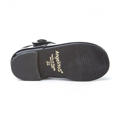 Merceditas Niña Piel Charol Velcro 1502 Marino, de Angelitos