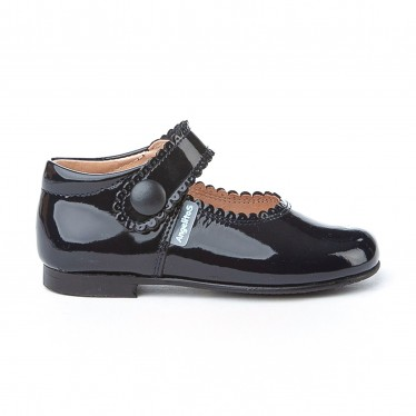 Girls Patent Leather Mary Jane Shoes Velcro 1502 Navy, by AngelitoS