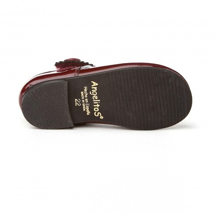 Girls Patent Leather Mary Jane Shoes Velcro 1502 Burgundy, by AngelitoS