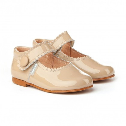 Girls Patent Leather Mary Jane Shoes Velcro 1502 Camel, by AngelitoS