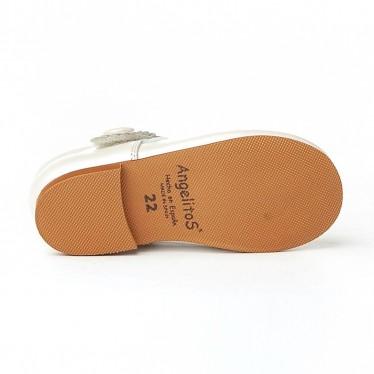 Merceditas Niña Piel Nacarada Velcro 1502 Beige, de Angelitos