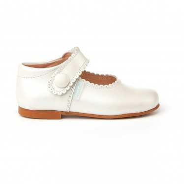 Girls Pearly Leather Mary Jane Shoes Velcro 1502 Beige, by AngelitoS