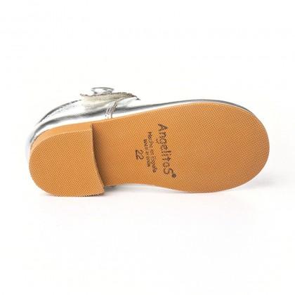 Merceditas Niña Piel Metalizada Velcro 1502 Plata, de Angelitos