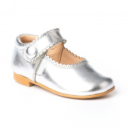 Girls Metallic Leather Mary Jane Shoes Velcro 1502 Silver, by AngelitoS