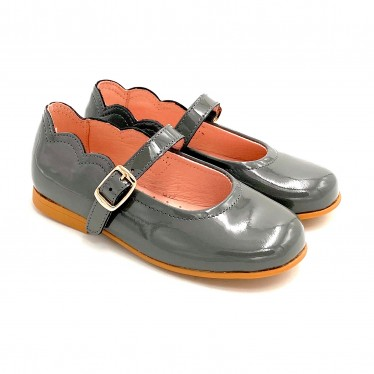 Girls Patent Leather Mary Jane Shoes Buckle 1100 Grey, by AngelitoS