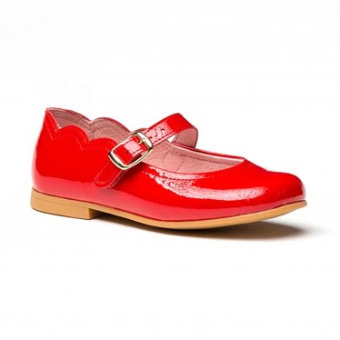 Girls Patent Leather Mary Jane Shoes Buckle 1100 Red, by AngelitoS
