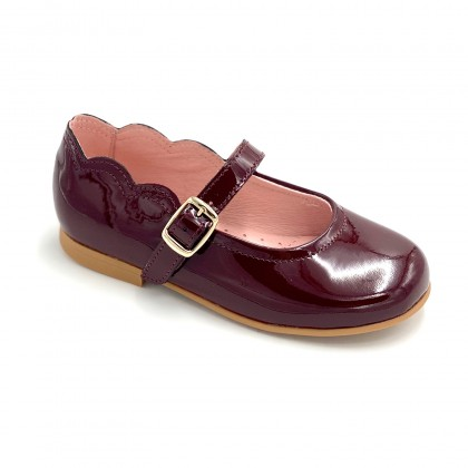 Girls Patent Leather Mary Jane Shoes Buckle 1100 Burgundy, by AngelitoS