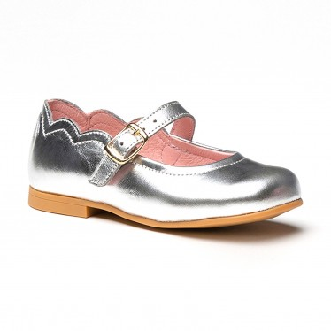 Girls Metallic Leather Mary Jane Shoes Buckle 1100 Silver, by AngelitoS