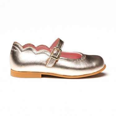 Girls Metallic Leather Mary Jane Shoes Buckle 1100 Platinum, by AngelitoS