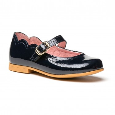Girls Patent Leather Mary Jane Shoes Buckle 1100 Navy, by AngelitoS