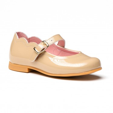 Girls Patent Leather Mary Jane Shoes Buckle 1100 Camel, by AngelitoS