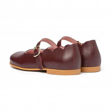 Girls Nappa Leather Mary Jane Shoes Buckle 1103 Burgundy, by AngelitoS