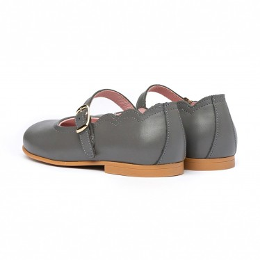 Girls Nappa Leather Mary Jane Shoes Buckle 1103 Grey, by AngelitoS