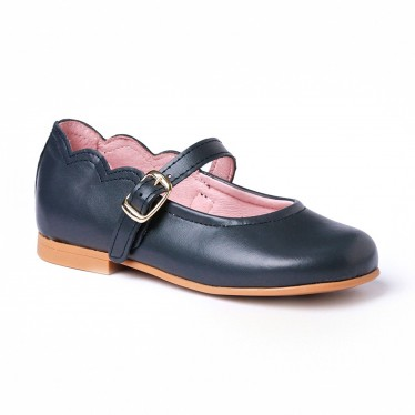 Girls Nappa Leather Mary Jane Shoes Buckle 1103 Navy, by AngelitoS