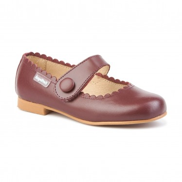 Girls Nappa Leather Mary Jane Shoes Velcro 1512 Burgundy, by AngelitoS