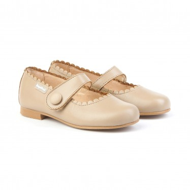 Girls Nappa Leather Mary Jane Shoes Velcro 1512 Camel, by AngelitoS