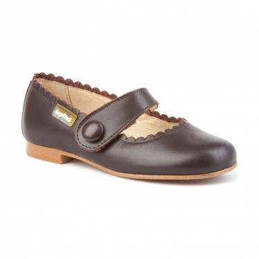 Girls Nappa Leather Mary Jane Shoes Velcro 1512 Chocolate, by AngelitoS