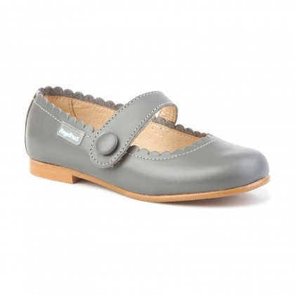 Girls Nappa Leather Mary Jane Shoes Velcro 1512 Grey, by AngelitoS