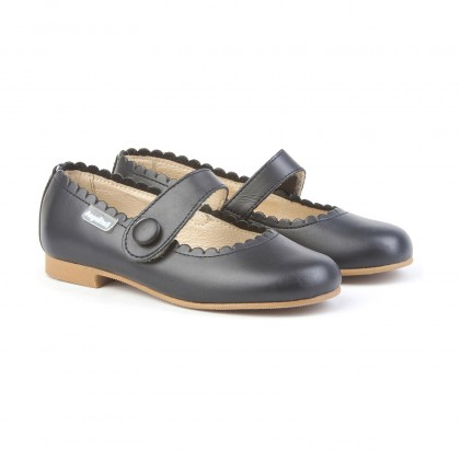 Girls Nappa Leather Mary Jane Shoes Velcro 1512 Navy, by AngelitoS